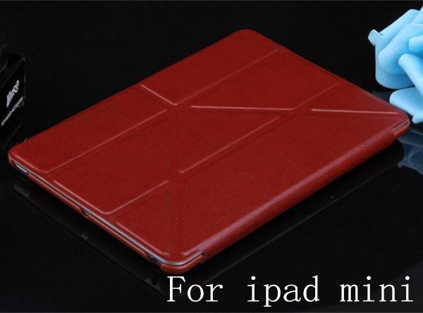 5 Shapes PU Leather Stand case for iPad Mini / Mini 2 mini 3 Retina Smart cover luxury Red Pink White Black Blue Green Orange(China (Mainland))