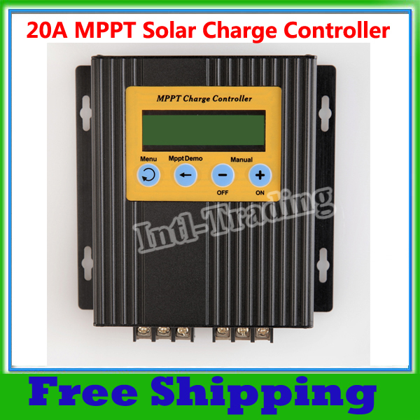 20A MPPT Solar Controller Regulator LCD Display15-30% More Power High Efficiency High Quality(China (Mainland))