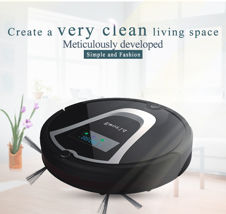 Eworld M884 Robot Vacuum Cleaner with Mop, Black Vacuum Cleaning Robot for Hardwood Flooring(China (Mainland))