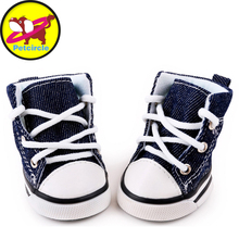 2017 New Arrival 4pcs\lot Blue Puppy Pet Dog Denim Shoes Sport Casual Anti-slip Boots Sneaker Shoes For Chihuahau Freeshipping(China (Mainland))