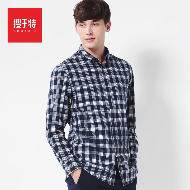 2014 autumn long-sleeve plaid shirt male 100% cotton sanded plaid shirt plus size men's clothing