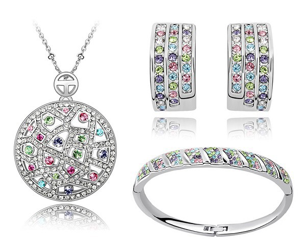 Austrian Crystal Necklace Earrings Bangle Bohemian Jewelry Sets 18Kt White Gold Plated Women Designer Brand Jewellery STZ0023