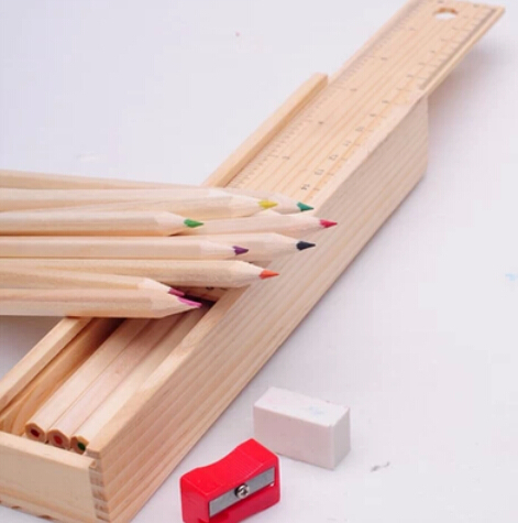 12 pcs/lot Cute Colored Pencil Wooden Box with Ruler Pencil sharpener for Kids Gifts Free shipping 094(China (Mainland))