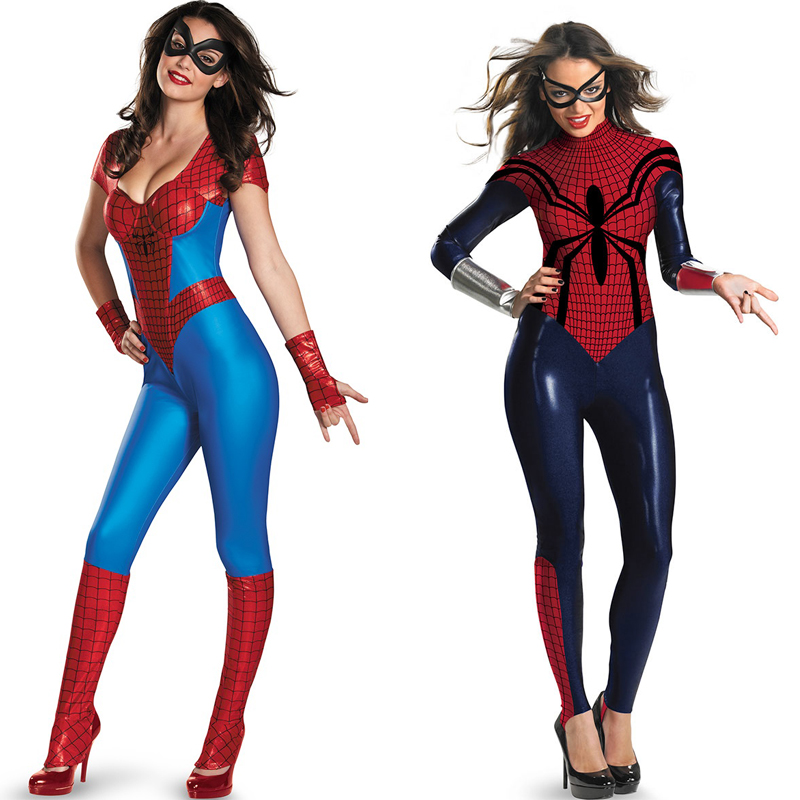 Free Shipping Red and Blue Adult Spandex Spiderman Costume Suit Cosplay Halloween Costumes for WomenОдежда и ак�е��уары<br><br><br>Aliexpress