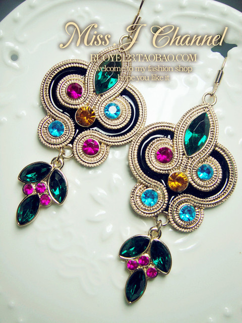 FREE Shipping ethnologic style acrylic multicolor gem drop earrings MJEH018
