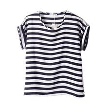 Шифон футболки дамы широкий короткие рукава рубашки полосатый в форме сердца губ топы Batwing рукавом сексуальный(China (Mainland))