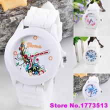 Newest Women s Geneva Flowers Printed White Silicone Band Analog Quartz Wrist WatchPopular Product 4KNY