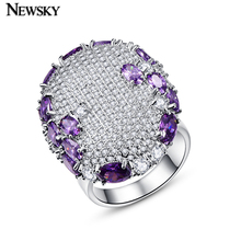 NEWSKY 2016 Zirconia Big Rings For Women White Gold Plated Engagement Rings With Full Crystal Purple Rings Fashion Jewelry R0062(China (Mainland))