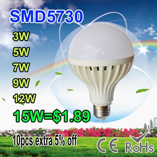 LED Bulbs 3W 5W 7W 9W 12W 15W 18w LED E27 B22 110V 220V 230V 240V led lamp Cold white warm white LED lights SMD 5730(China (Mainland))