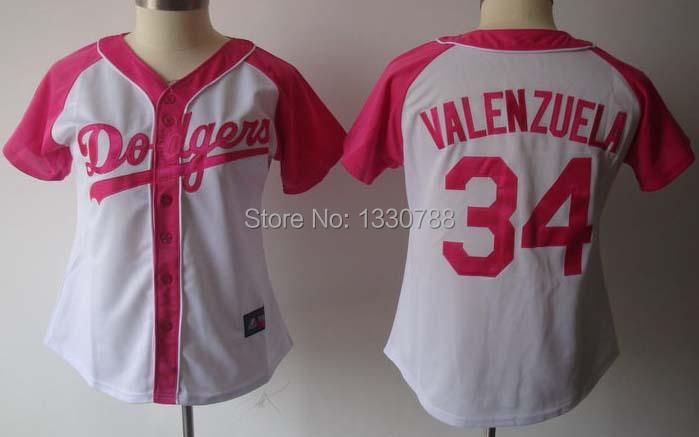 2015 Womens Los Angeles Dodgers #34 Fernando Valenzuela Jersey White Pink Splash Fashion Stitched LA Dodgers Baseball Jerseys