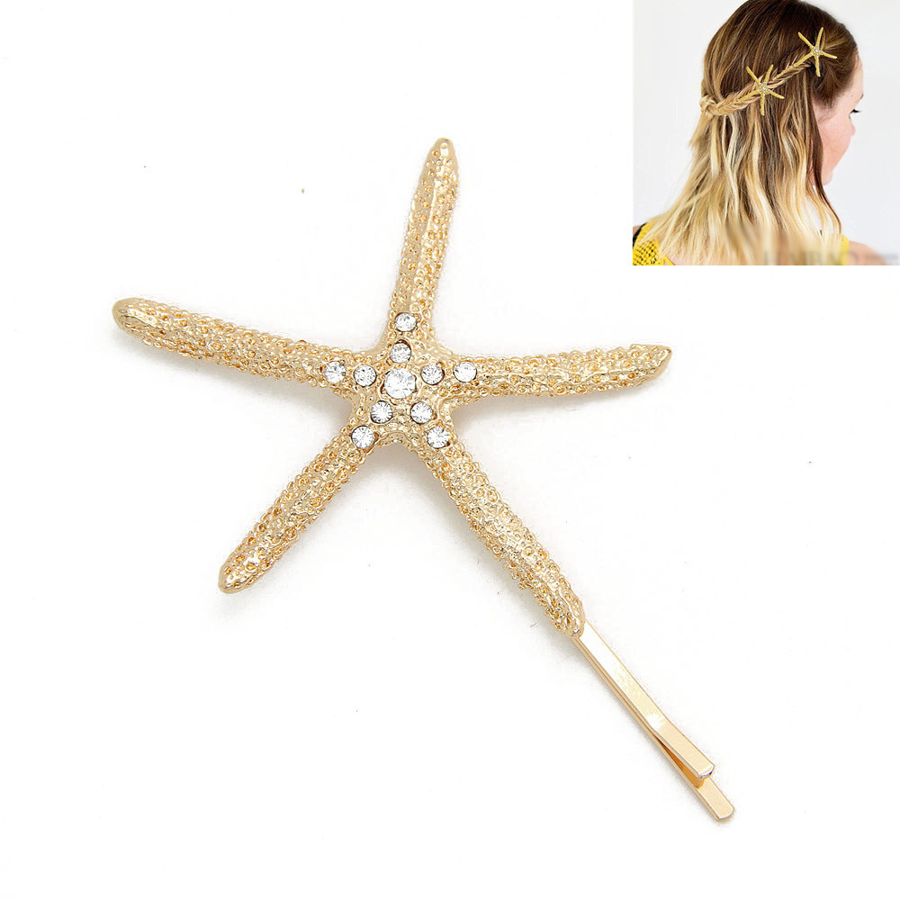 Trendy Gold Starfish Crystal Hair clip For Women hairpins decorations for hair bijoux de tete hair clips tiaras for girls CF144(China (Mainland))