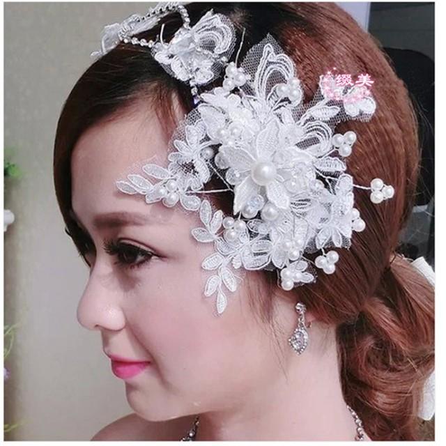 Bh43 элегантный невесты шляпы ручной свадебное кристалл жемчуг кружева свадебные ...