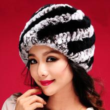 2016 Hot Sale New Women Warm Genuine Knit Rex Rabbit Fur Hat Cap Beadgear Headdress Various Fashion Women Lady Hat Free Shipping(China (Mainland))
