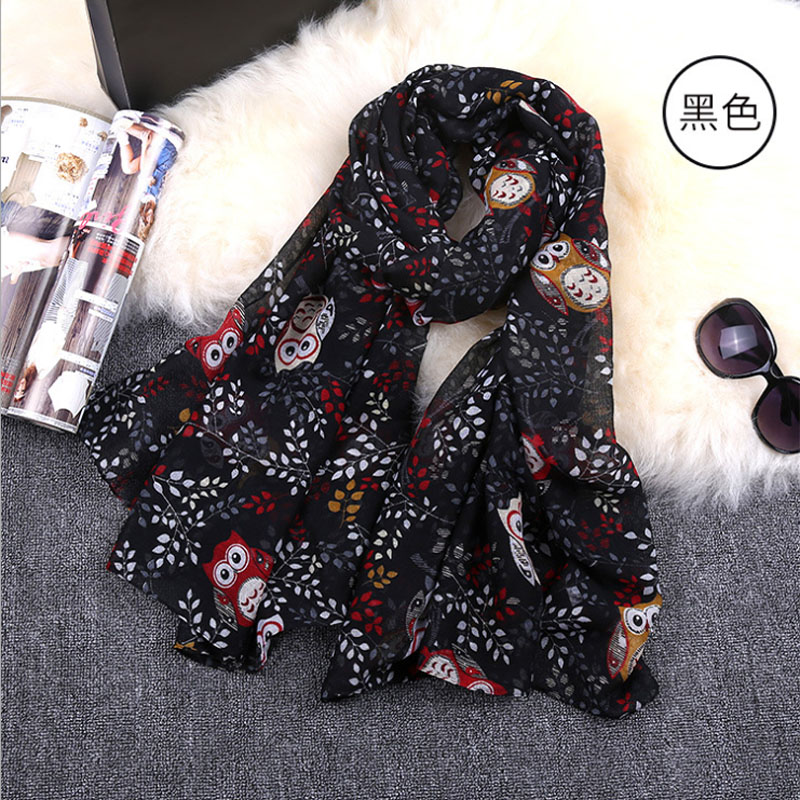 2016 New Spring Voile Scarf Owl Design Silk Feel Women Scarves Free Shipping Z-2308()