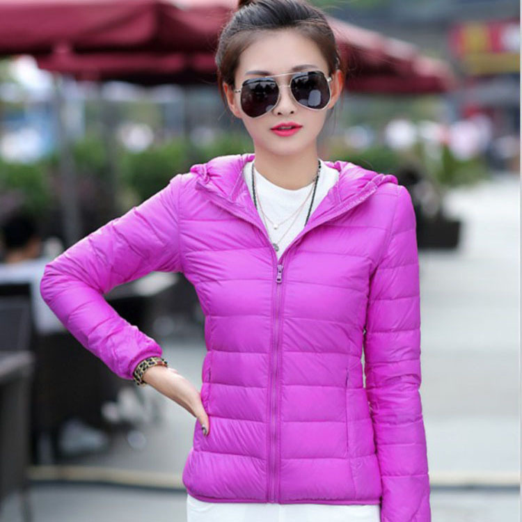 2015 Fashion Winter Women Slim Parka Coats 90%White Ultra Light Hooded Duck Down Jacket Candy Color Outwear Coat Plus Size XXXL(China (Mainland))