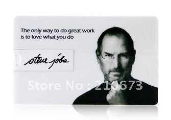 4GB 8GB 16GB 32GB Steve Jobs Credit Card Shaped USB Flash Drive 2.0 Memory Stick
