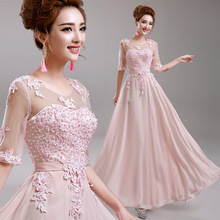 New Listing Half Sleeve Female Evening Gown Appliques Beading Decorated Light Pink Chiffon Evening Dress 2016(China (Mainland))