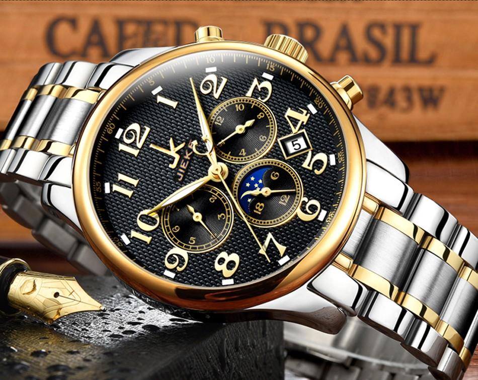Небольшой Набор Может Работать-Люксовый Бренд JK Золотые Часы Мужские Полное Стальные Наручные Часы Кварцевые Спорт Бизнес Мужчины Часы Relogio Masculino