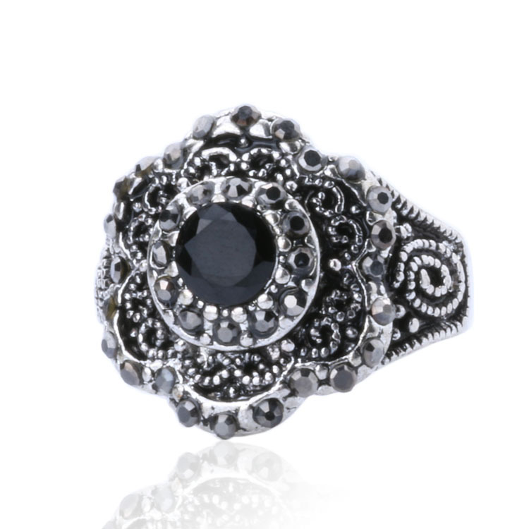Rings For Women Sterling Silver Jewelry 2015 Fashion Vintage Tibetan Silver Alloy Black Crystal Ring Sold