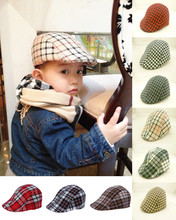 New Arrival Cheap Cute Boys Toddler Flax Cap Newsboy Ivy Hat Classic Casual Plaid Beret Free Shipping(China (Mainland))