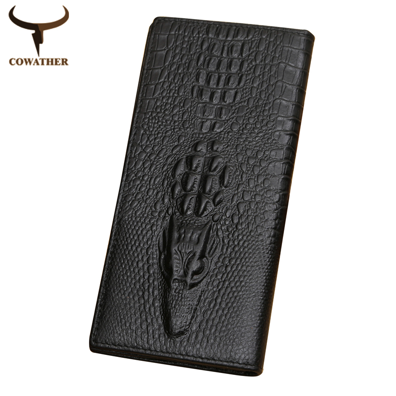 [COWATHER]alligator top cow genuine leather wallets for men 2016 Crocodile pattern Exquisite craft fashion design free shipping(China (Mainland))