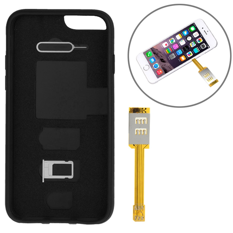 Kumishi For iPhone 6 Dual SIM Card Adapter with a Back Case Cover (Black)(China (Mainland))