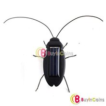 5Pcs/lot Solar Power Energy Black Cockroach Bug Toy Children  #3710(China (Mainland))