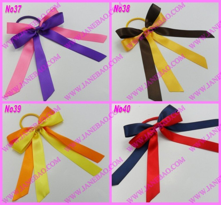 free shipping 30pcs mix color Sport Pony O Hair Bow Ponytail Streamers ponytail holder bows(China (Mainland))