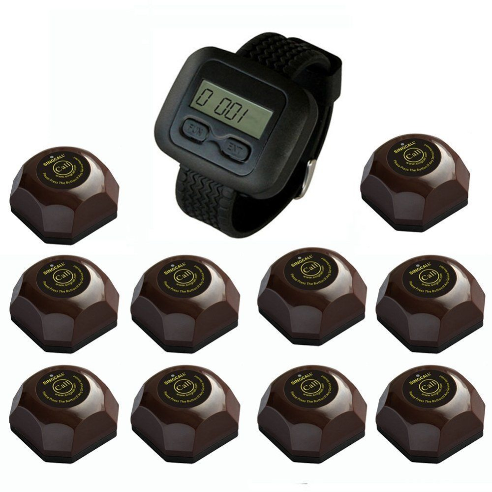 SINGCALL wireless service calling system,vibrating restaurant pagers,10 pcs coffee buttons and one wrist watch for waiter(China (Mainland))