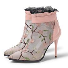 Sonbahar hakiki deri yarım çizmeler kadınlar yüksek topuklu nefes ayakkabı kadın moda oyalamak seksi siyah pembe dantel bayan botları(China)