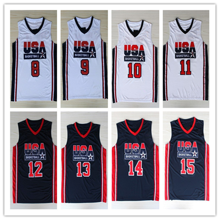1992 USA Dream Team Jersey #15 Earvin Johnson #9 M Jordan Olympic Game Basketball Jerseys Throwback Stitched blue white(China (Mainland))