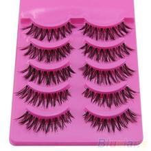 5 Pairs Makeup Handmade Messy Natural Cross False Eyelashes Perfect Eye Lashes(China (Mainland))