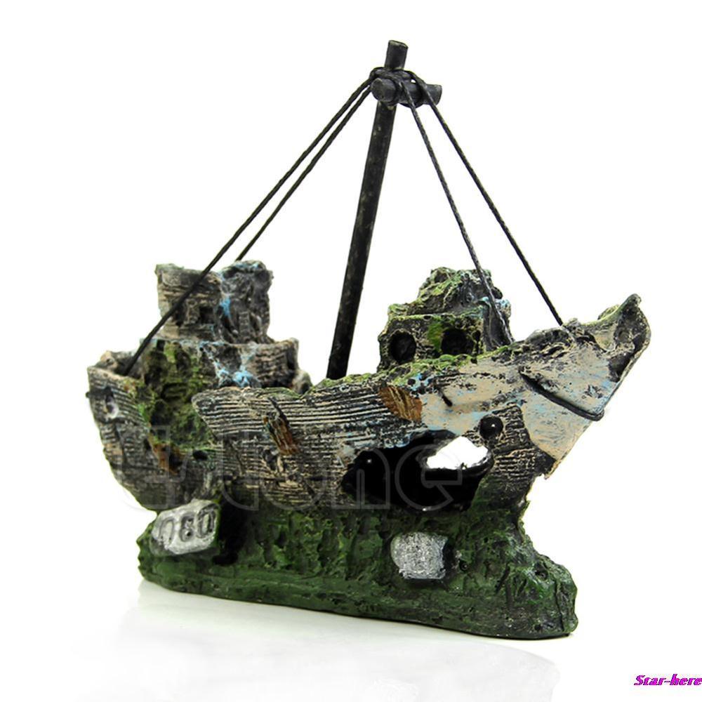 Гаджет  Aquarium Ornament Wreck Sailing Boat Sunk Ship Destroyer Fish Tank Cave Decor Free Shipping None Дом и Сад