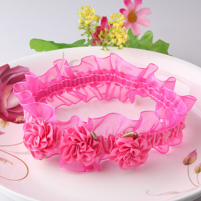 Wholesale Baby Flower Headband Mini three Chiffon Flowers Hair Bands Charlotte Tulle Puff Floral Head Wear For Photography Props(China (Mainland))