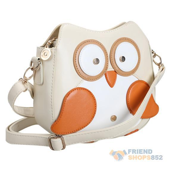 Women Owl Pattern Faux Leather Small Cross Body Bag Shoulder Bag Apricot PTSP(China (Mainland))