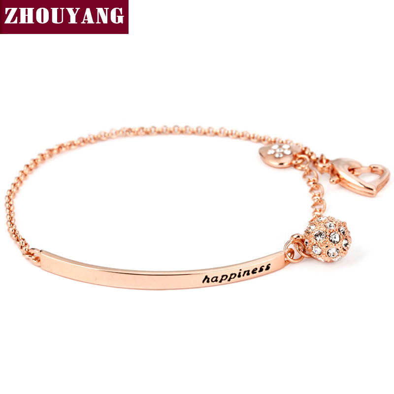 OL Style CZ Rose Gold Plated Ball Fashion Party Charm Bracelets & Bangles Jewelry Wholesale Top Quality ZYH196(China (Mainland))