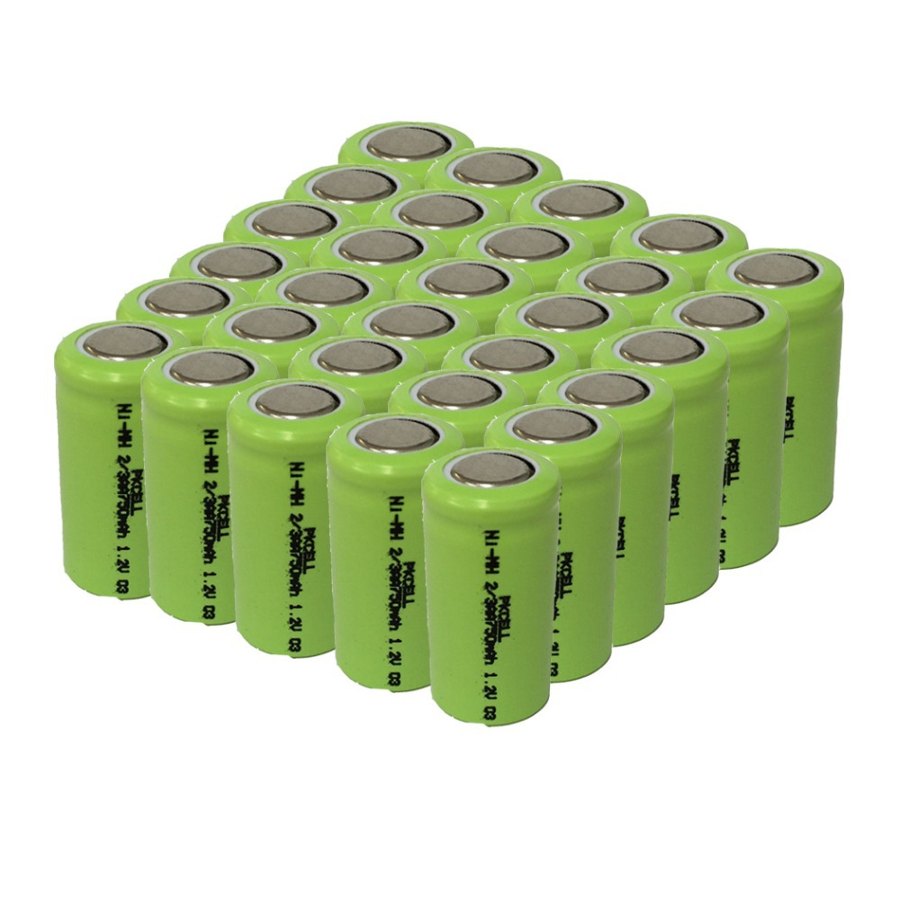 30Pcs 1.2v 2/3aa 750mah rechargeable NIMH battery in flat top, non PCM, in industrial pvc packing(China (Mainland))