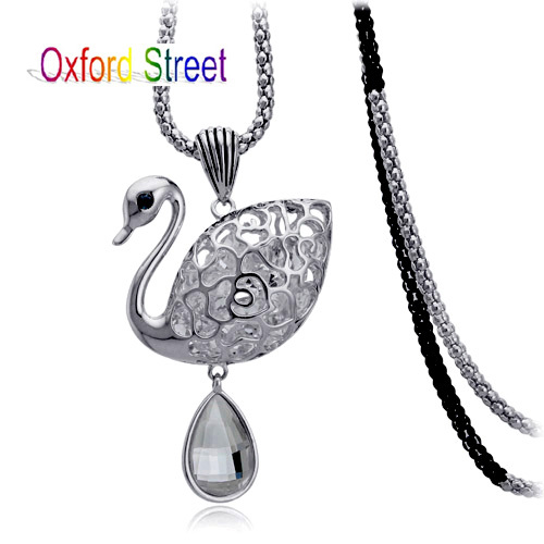 2014 New Arrival Wholesale 18K Gold Plated Austrian Crystal Long Necklace, Zircon Swan Pendent Long Chain Sweater Necklace(China (Mainland))
