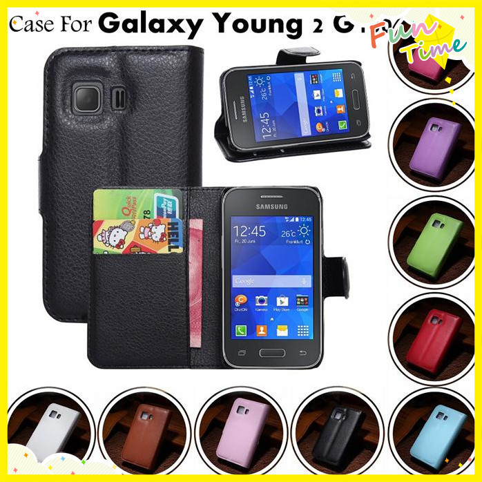 Wallet Leather Flip Skin Stand Case Cover Samsung Galaxy Young 2 II G130 Young2 G130H - HUNGKUANG (HK store CO.,LTD)