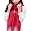 Casual Autumn Winter Scarf Women Cashmere Crochet Warm Scarf Tassel Solid Shawls and Scarves Women High