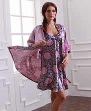 2015 Summer Thin Purple Leopard Printed Women Robes Printed,Spring New Arrival Half Sleeves Graceful Female Robe For Autumn(China (Mainland))