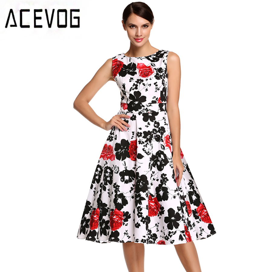 ACEVOG Brand S - 4XL Vintage 1950's 60's Rockabilly Swing Dress Women Floral Summer Dress Elegant Ladies Bowknot Party Dresses(China (Mainland))