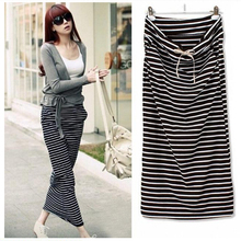Fashion Summer Skirts Womens Long Skirt Female Black and White Striped With Pockets Plus Size Casual Women Clothing(China (Mainland))