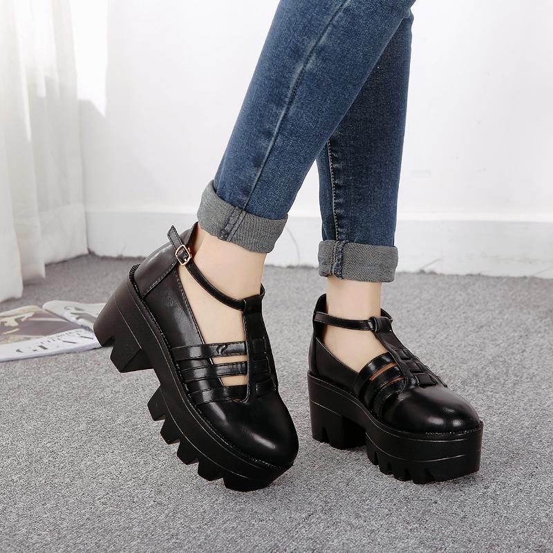 2014 Europe fashionista Vintage Japanese Harajuku Institute wind shoes heels AA03 wholesale shoes(China (Mainland))