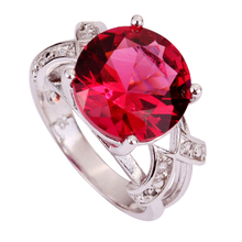 New Fashion Pretty Pink Tourmaline 925 Silver Ring Round Cut Size 6 7 8 9  Wholesale Free Shipping For Wopmen Jewelry