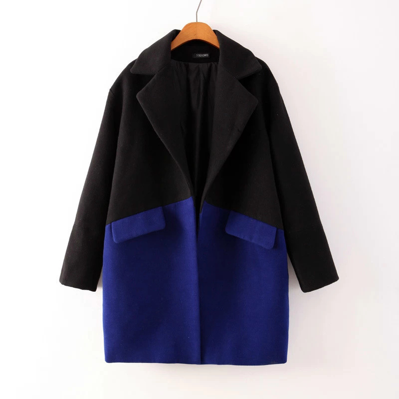 Winter Women New mixed colors black and blue lapel wool coat female outerwear coat long section jacket wool & blends(China (Mainland))