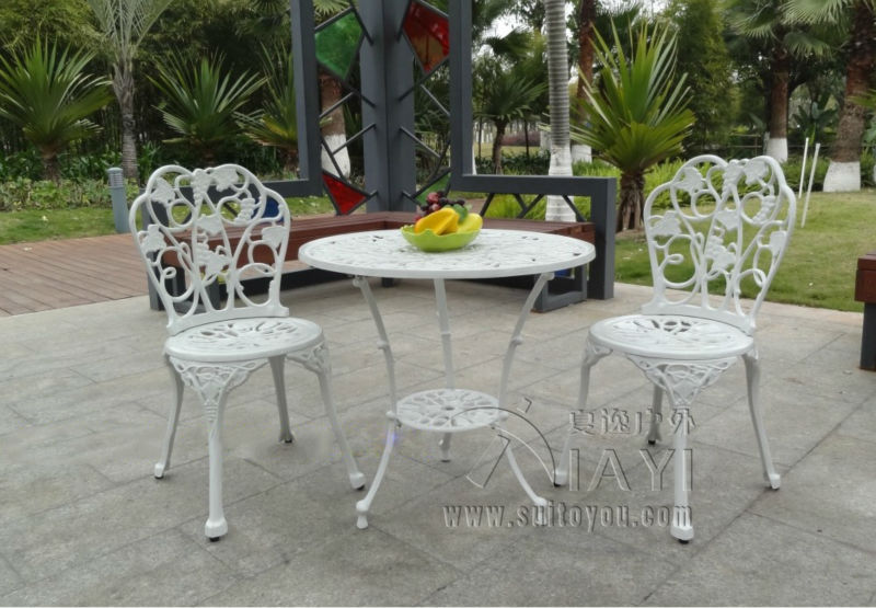 3-piece cast aluminum table and chair patio furniture garden furniture Outdoor furniture (white)(China (Mainland))