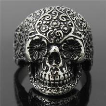 316L Stainless Steel Cool Punk Gothic Cool Flower Skull Newest Ring