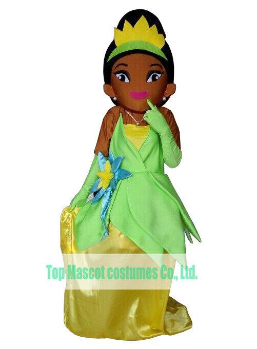 Princess Fancy Dress Brown Face Tiana Princess Mascot Costume For Christmas Stage Show(China (Mainland))