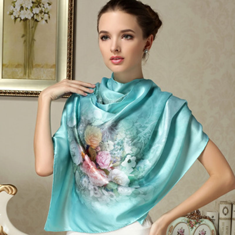 100% Mulberry Long Scarf Women Silk Scarf Luxury Brand Scarf Shawl Silk Scarves Long Printed Shawls Beach Cover-ups(China (Mainland))